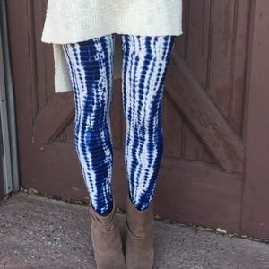 Blue Tie-dye Print Leggings